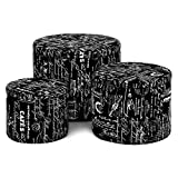 Image of LANGRIA 3-Piece Nesting Round French Script Patterned Fabric Storage Ottoman Set, Black