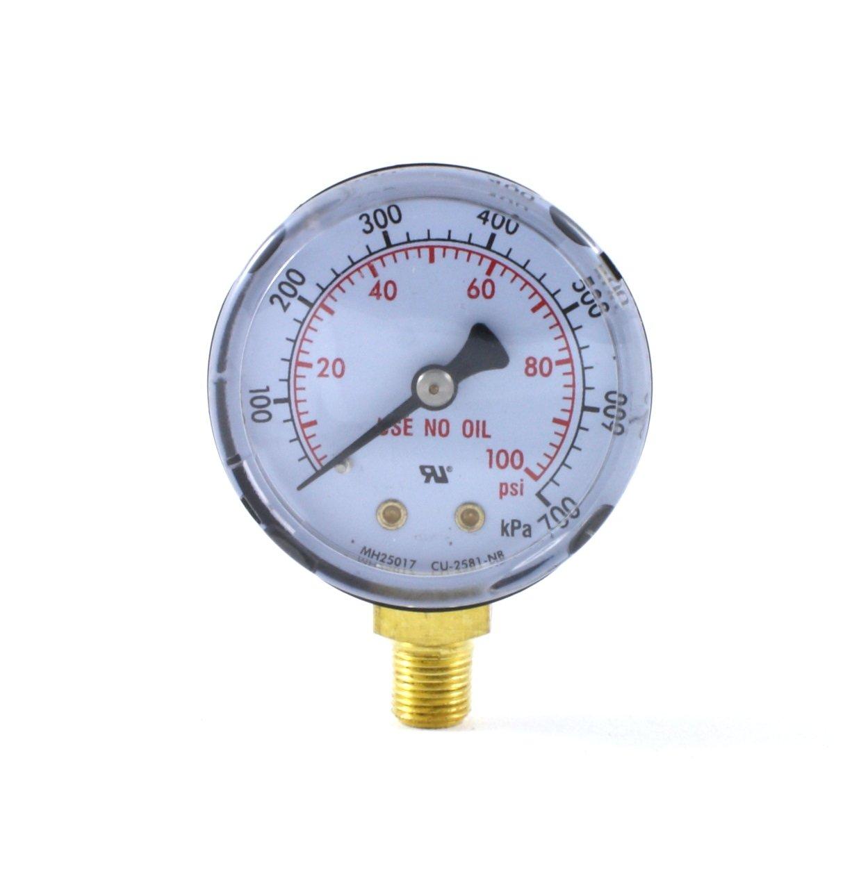 High Pressure Gauge for Oxygen Regulator 0-4000 psi - 2 inches for LDB Regulators SÜA