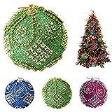 Where to Buy Egg Foam Gbell Hot ! Fine Xmas Glitter Balls Ornament Christmas Trees Wreaths Rattan Decorations, Rhinestone Baubles Balls Decor 8CM,Green,Hot Pink,Blue
