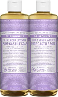 product image for Dr. Bronner's - Pure-Castile Liquid Soap (Lavender, 16 ounce, 2-Pack) - Made with Organic Oils, 18-in-1 Uses: Face, Body, Hair, Laundry, Pets and Dishes, Concentrated, Vegan, Non-GMO