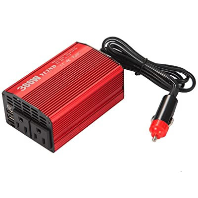 YCIND 300W Modified Sine Wave Inverter DC12V to 110vAC 2 US Outlets 4.8A Dual USB Car Inverter Adapter Charger: Car Electronics