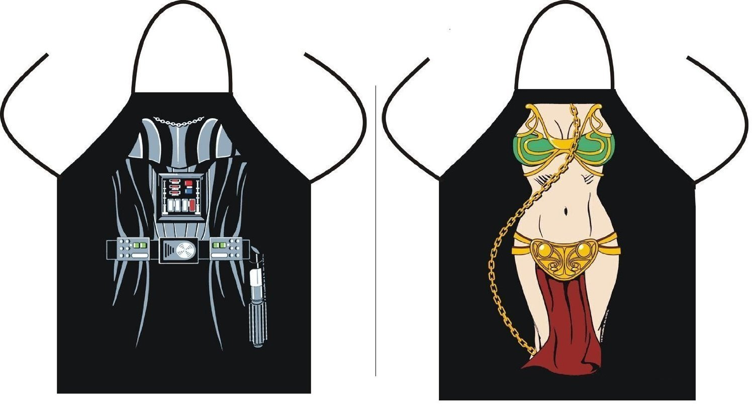 (Set of 2) Star Wars Aprons for Kitchen Cooking and BBQing (Leah, Darth Vader) Lucy&M