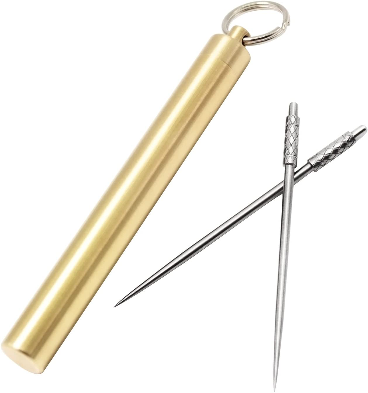 2x Portable Titanium Alloy Waterproof Metal Toothpick Keyring