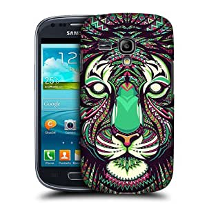 AIYAYA Samsung Case Designs Tiger Aztec Animal Faces Protective Snap-on Hard Back Case Cover for Samsung Galaxy S3 III mini I8190