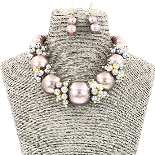 (Comelyjewel Fashion Jewelry Lady Simulated Pearl Beaded Collar Women Necklace and Earrings Set (Metallic Gray))