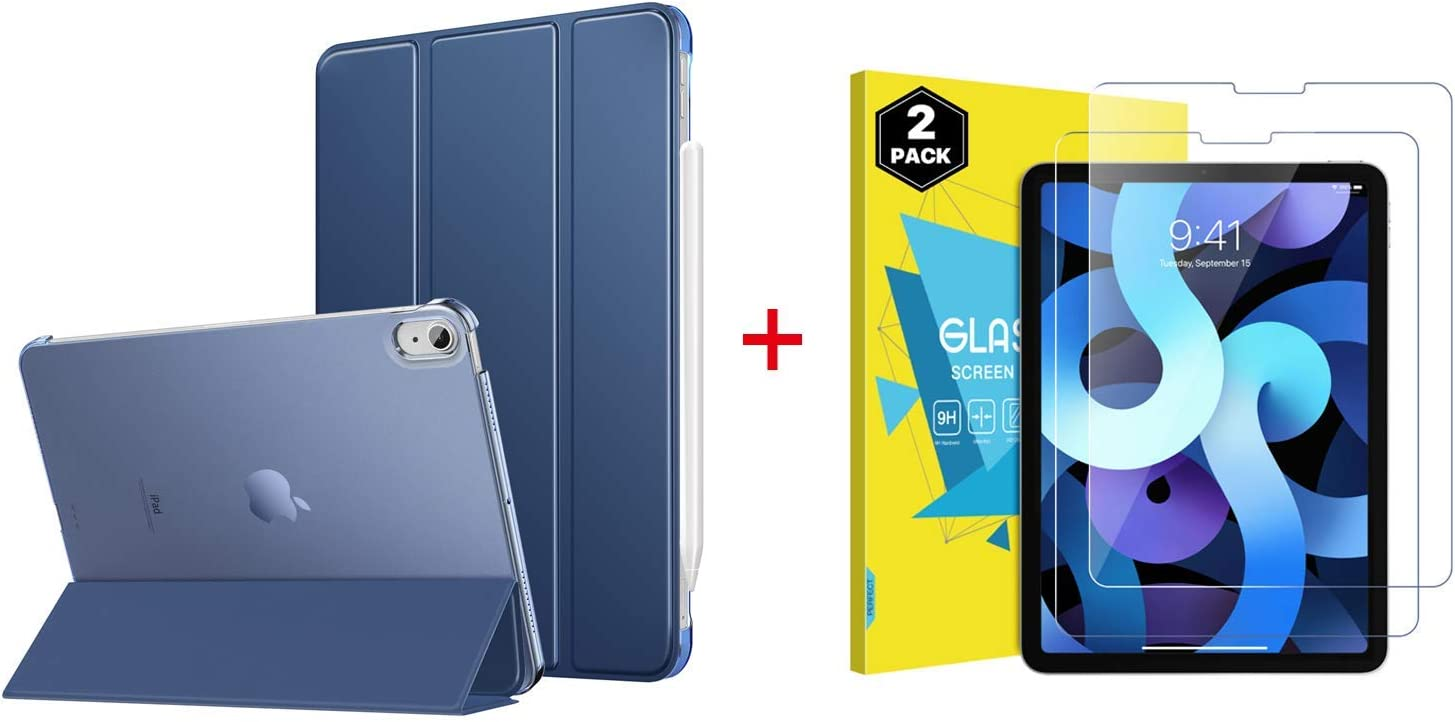 MoKo Case Fit New iPad Air 4th Generation 2020- iPad 10.9 Case Slim Lightweight Smart Cover with 2-Pack Tempered Glass Screen Protector for iPad 10.9 inch, Auto Wake/Sleep-Blue