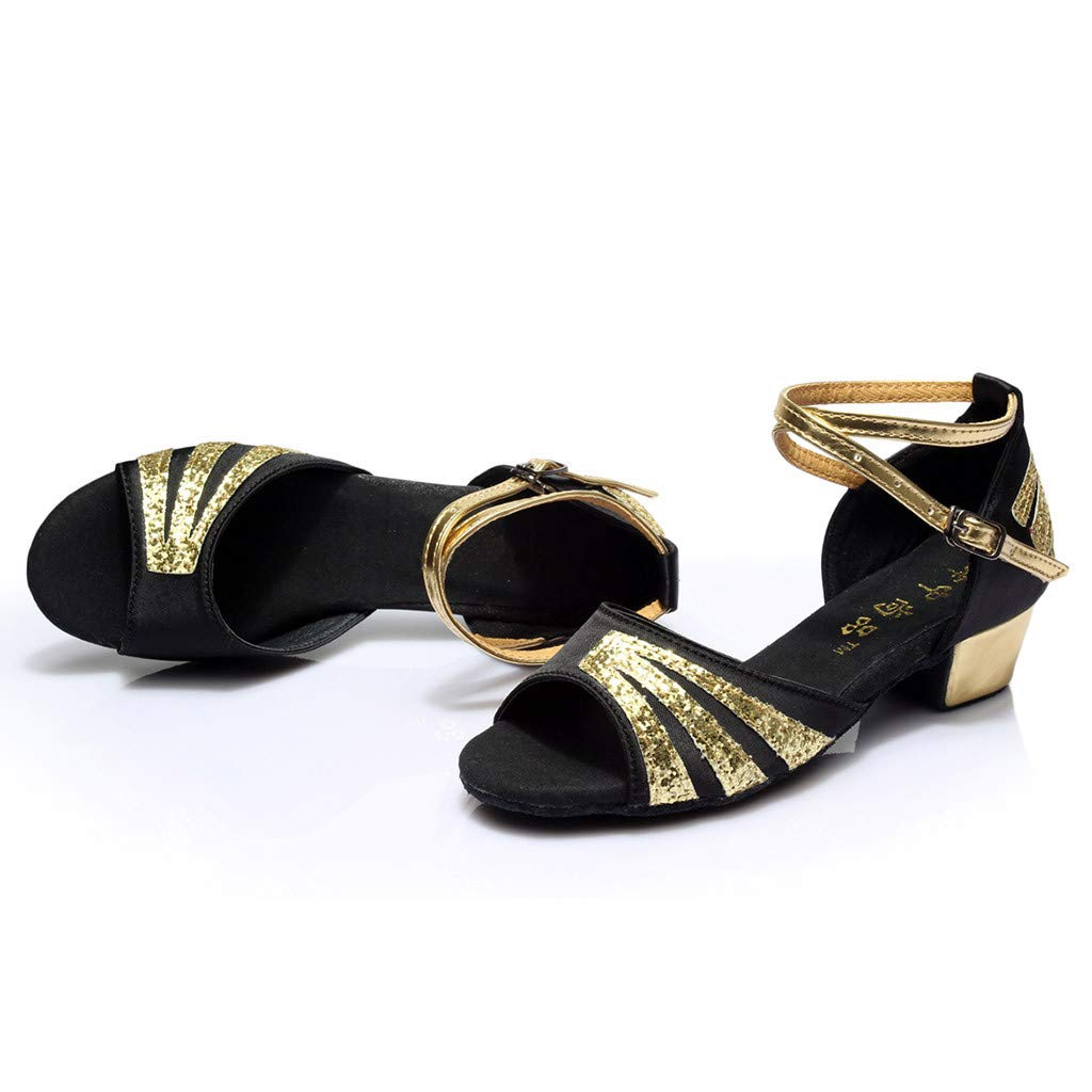 Goddessvan Womens Latin Dance Shoes Females Ballroom Salsa Dance Shoes Low-heeled Cross Belt Single Shoes Sandals