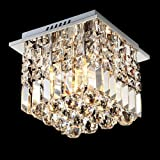 Siljoy Crystal Ceiling Light Modern Square Chandelier Lighting for Hallway Entrance W10 x H10 Raindrop Design Review
