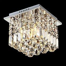 Siljoy Crystal Ceiling Light Modern Square Chandelier Lighting for Hallway Entrance W10 x H10 Raindrop Design