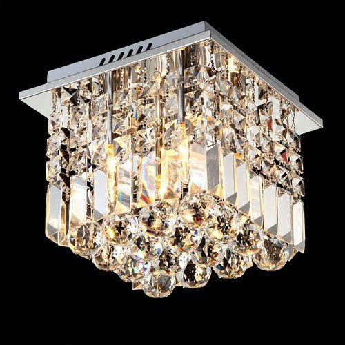 Siljoy Crystal Ceiling Light Modern Square Chandelier Lighting for Hallway Entrance W10 x H10 Raindrop Design by Siljoy