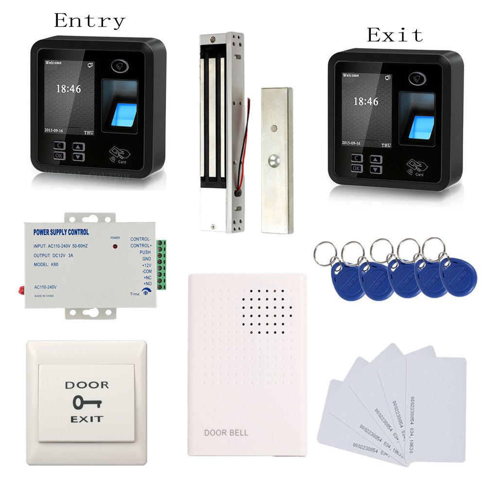 Biometric Fingerprint & RFID Access Control System Track Both Entry and Exit 600lbs Magnetic Lock 110V Power Unit RFID Keychains/Cards Push to Exit Button & Doorbell