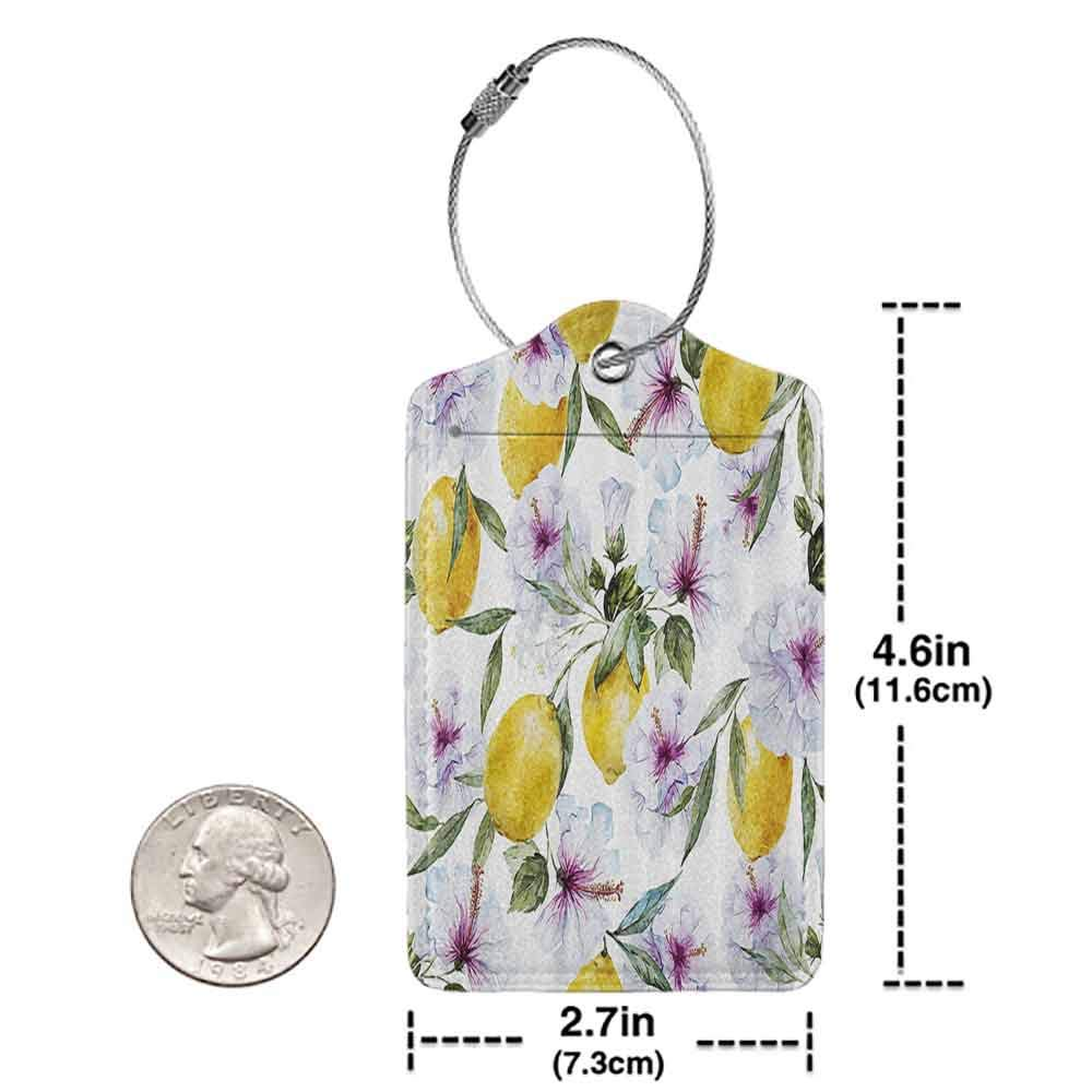 Modern luggage tag Spring Flowers Lemons Essence Refreshing Agriculture Harvest Aroma Organic Watercolor Art Suitable for children and adults Multicolor W2.7 x L4.6