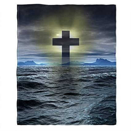Moslion Soft Cozy Throw Blanket Cross Mark Symbol of Christian Upon The Sea  Fuzzy Warm Couch/Bed Blanket for Adult/Youth Polyester 50 X 60