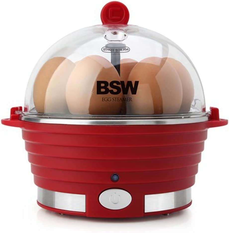 BSW egg Electric Egg Steamer Cooker/Boiler, Rapid Egg Maker, Countertop, Hard Boil Egg Steamer and Poacher, 6 Egg Capacity 220V