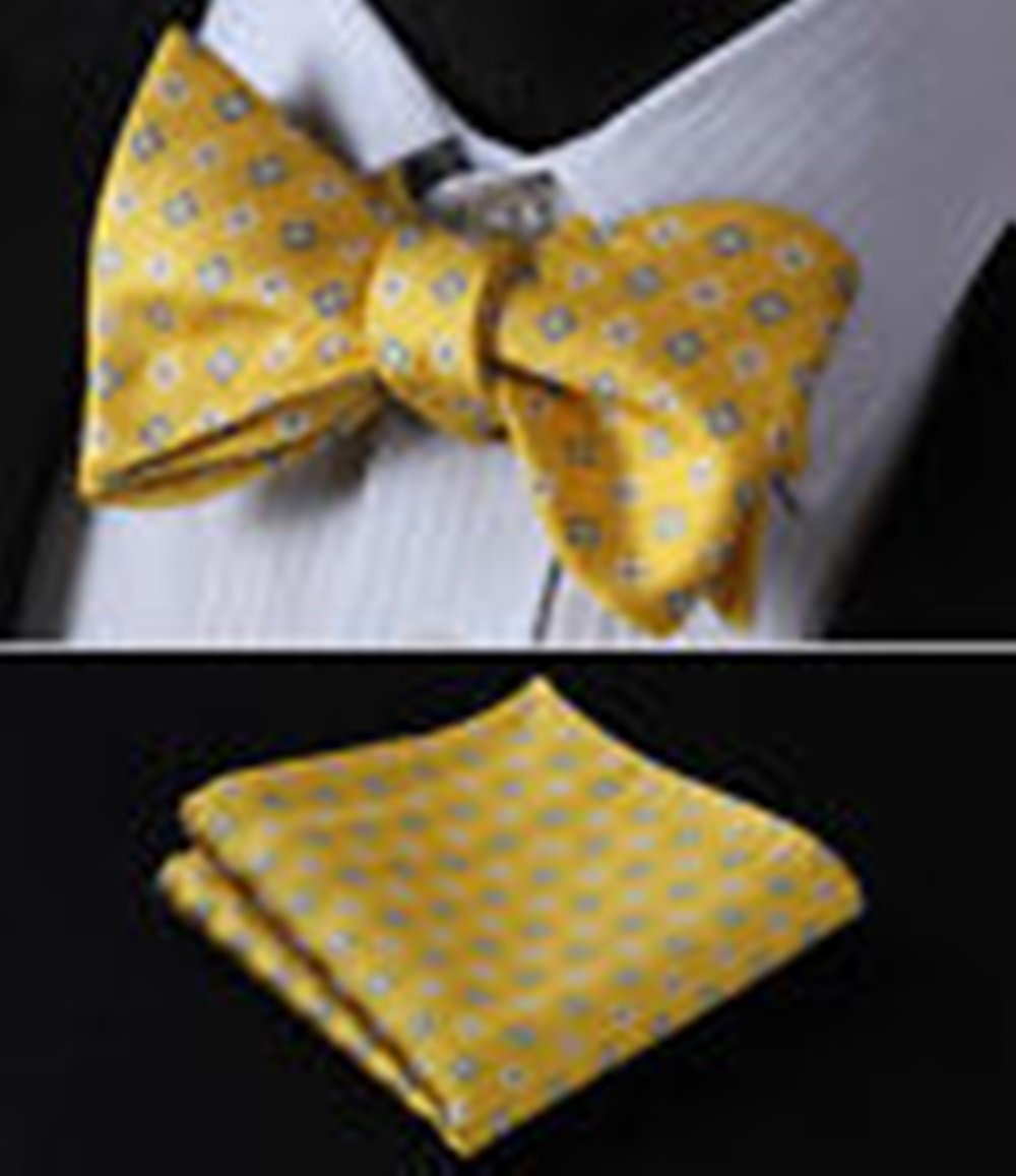Mondaily DL127Y Yellow Blue Floral Men Woven Silk Self Bow Tie Pocket Square Set #PPTE4673