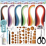 quilling paper sheets - JUYA Paper Quilling Kits with 30 Colors 600 Strips and 8 Tools (Width:3mm with Glue, Blue Tools)