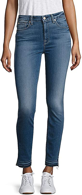Amazon Com 7 For All Mankind Women Jeans B Air High Waist Ankle Skinny With Released Hem 32 Clothing