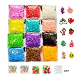 7200 Rubber Loom Bands Refill Pack for DIY Jewelry Bracelet Making in 12 Colors, 12 Packs S Clips, 12 Pieces Small Hooks, 1 Pack Silicone Charms, 3 Pack Colorfu Beads, 1 Pack Letter Beads
