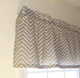 Appleberry Attic Window Treatment Curtain Valance, Herringbone – Grey & White