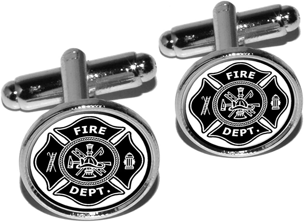 Graphics and More Firefighter Firemen Maltese Cross - Black Round Cufflink Set - Silver