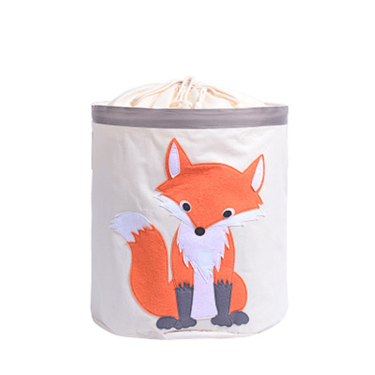 Large Oversized Waterproof Coating Ramie Cotton Fabric Folding Laundry Hamper Bucket Cylindric Burlap Storage Basket,Toy Organizer,Beam Laundry Bag