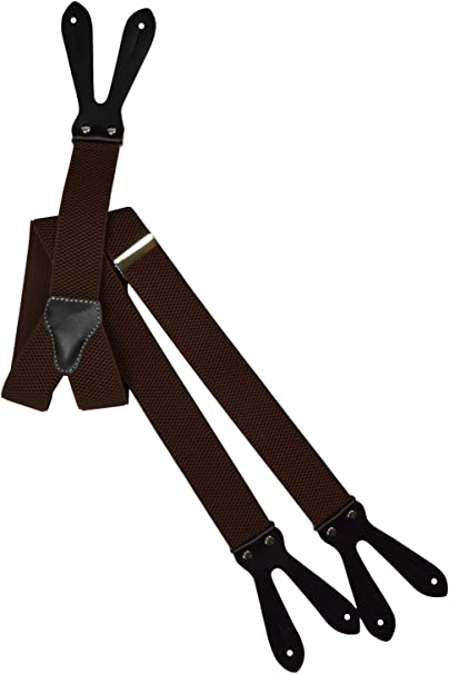 3.5cm Button-Down Formal Dress Suspenders//Braces with Dark Brown Leather