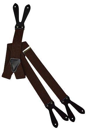 27783fb9d8d Button-Down Formal Dress Suspenders Braces with Black Leather