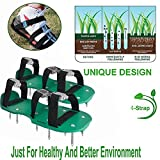 KOBWA Lawn Aerator Shoes, Spikes Aerator Sandals with 4 Adjustable Straps and Strong Zinc Alloy Buckles, Universal Size that Fits all – For a Greener and Healthier Garden or Yard.