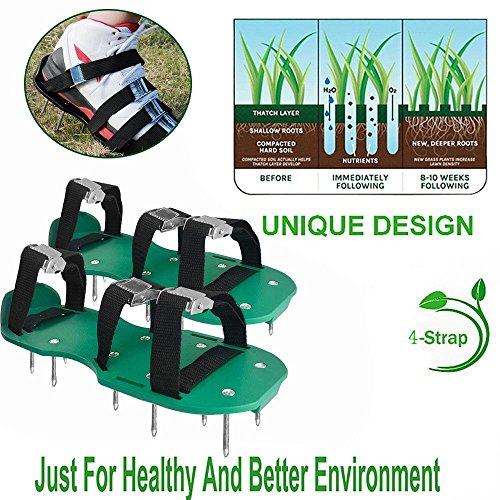 KOBWA Lawn Aerator Shoes, Spikes Aerator Sandals with 4 Adjustable Straps and Strong Zinc Alloy Buckles, Universal Size that Fits all – For a Greener and Healthier Garden or Yard. by KOBWA (Image #8)