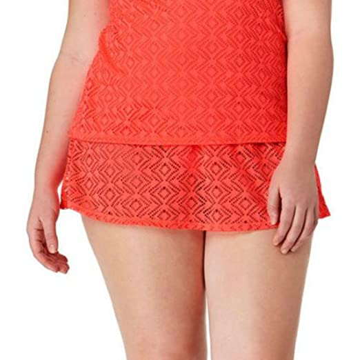 02c3b6e59cb Catalina Plus-Size Solid Crochet Skirted Bottom - Coral Freeze at ...