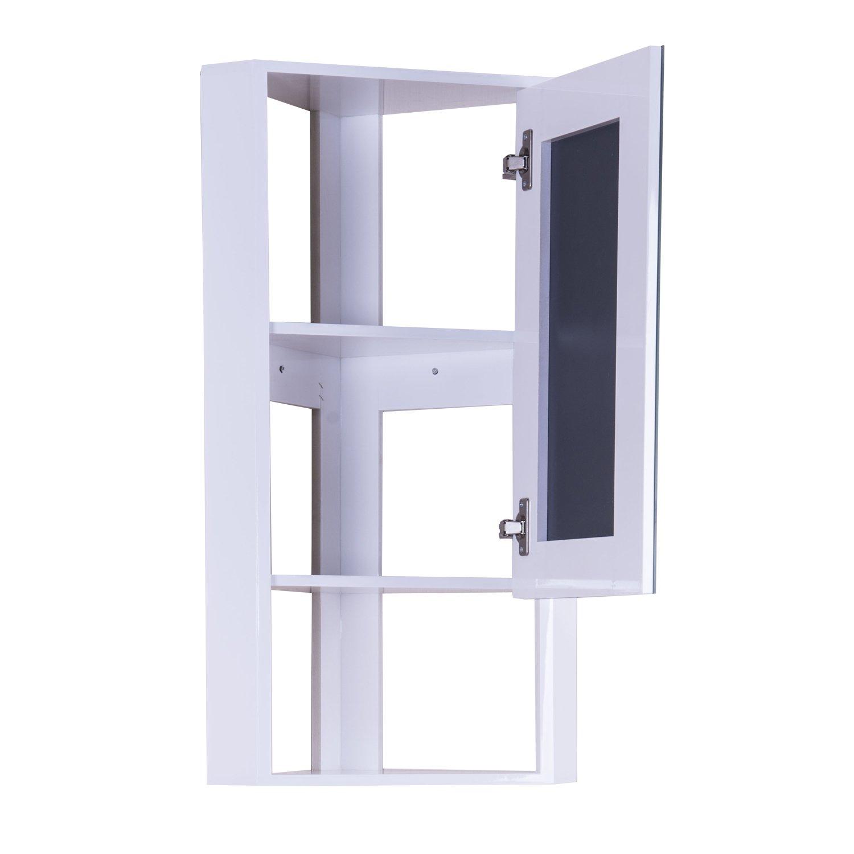 Hom 255mm High Gloss White Wall Mounted Corner Bathroom Mirror