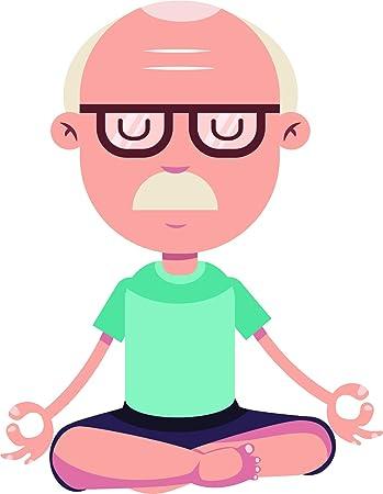 Amazon Com Simple Yoga Pose Lotus Namaste Peaceful Cartoon Vinyl Sticker 2 Tall Man Glasses Automotive