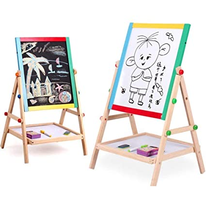 Kurtzy Magnetic Black and White Board Double Sided Wooden Kids Drawing Easel with Marker Duster Chalkbox 37x43cm 1 PC