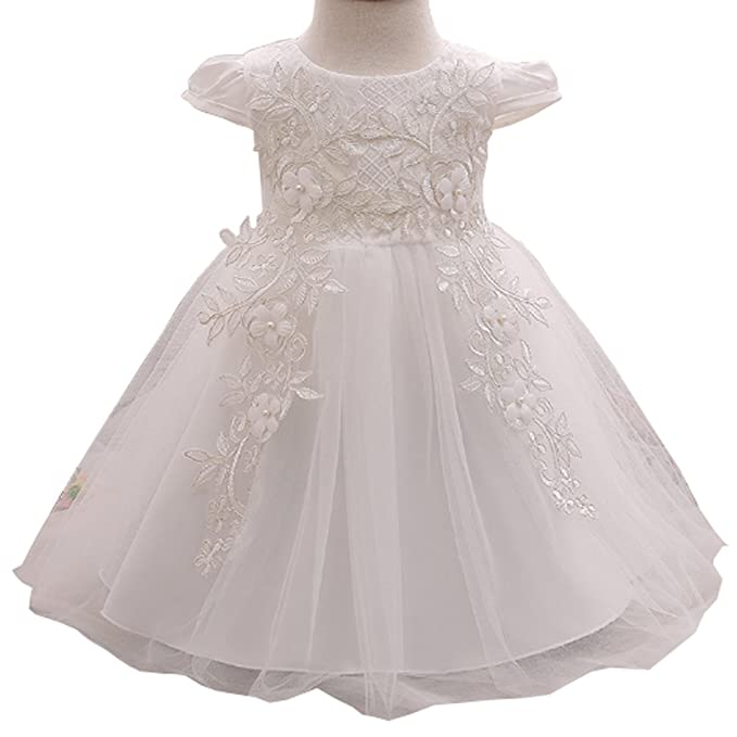 Amazon.com: Baby Girl Embroidered 3D Flower Dress Christening ...