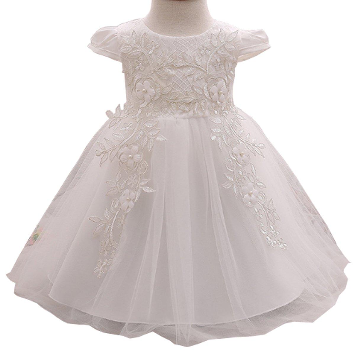 Baby Girl Embroidered 3D Flower Dress Christening Baptism Gowns Girl Tutu Dress White)
