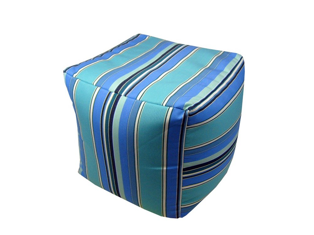 Lava Polyester Ottomans Lava Pillows Sunbrella Dolce Oasis - 17 X 17 X 17 Square Indoor/Outdoor Pouf 17 X 17 X 17 Inches Blue Model # 56609.409