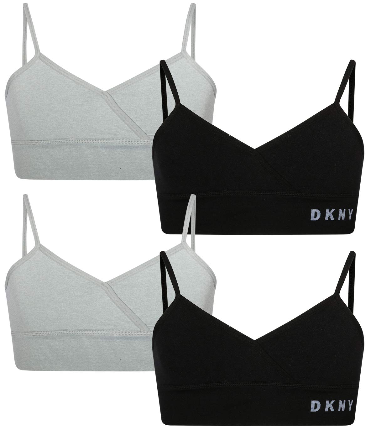 DKNY Girls Seamless Crossover Training Bra with Adjustable Straps (4 Pack)
