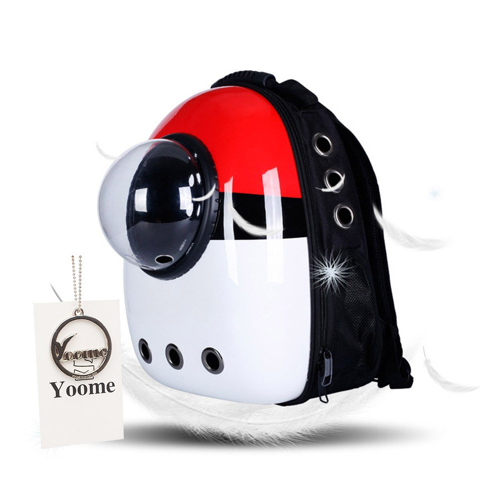 Yoome Portable Travel Pet Carrier Backpack, Space Capsule Bubble Design, Waterproof Handbag Backpack for Cat and Small Dog YooHJCW0009 Red white and black