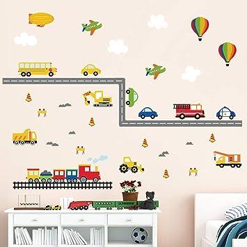 decalmile Stickers Muraux Transports Construction Voiture Autocollant Mural  Camion Avion Décoration Murale Chambre Bébé Garçon Enfants Pépinière ...