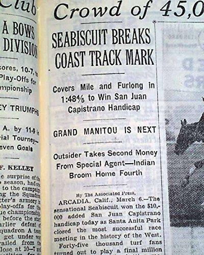 San Juan Racing - SEABISCUIT Wins San Juan Capistrano Handicap HORSE RACING Victory 1937 Newspaper THE NEW YORK TIMES, March 7, 1937