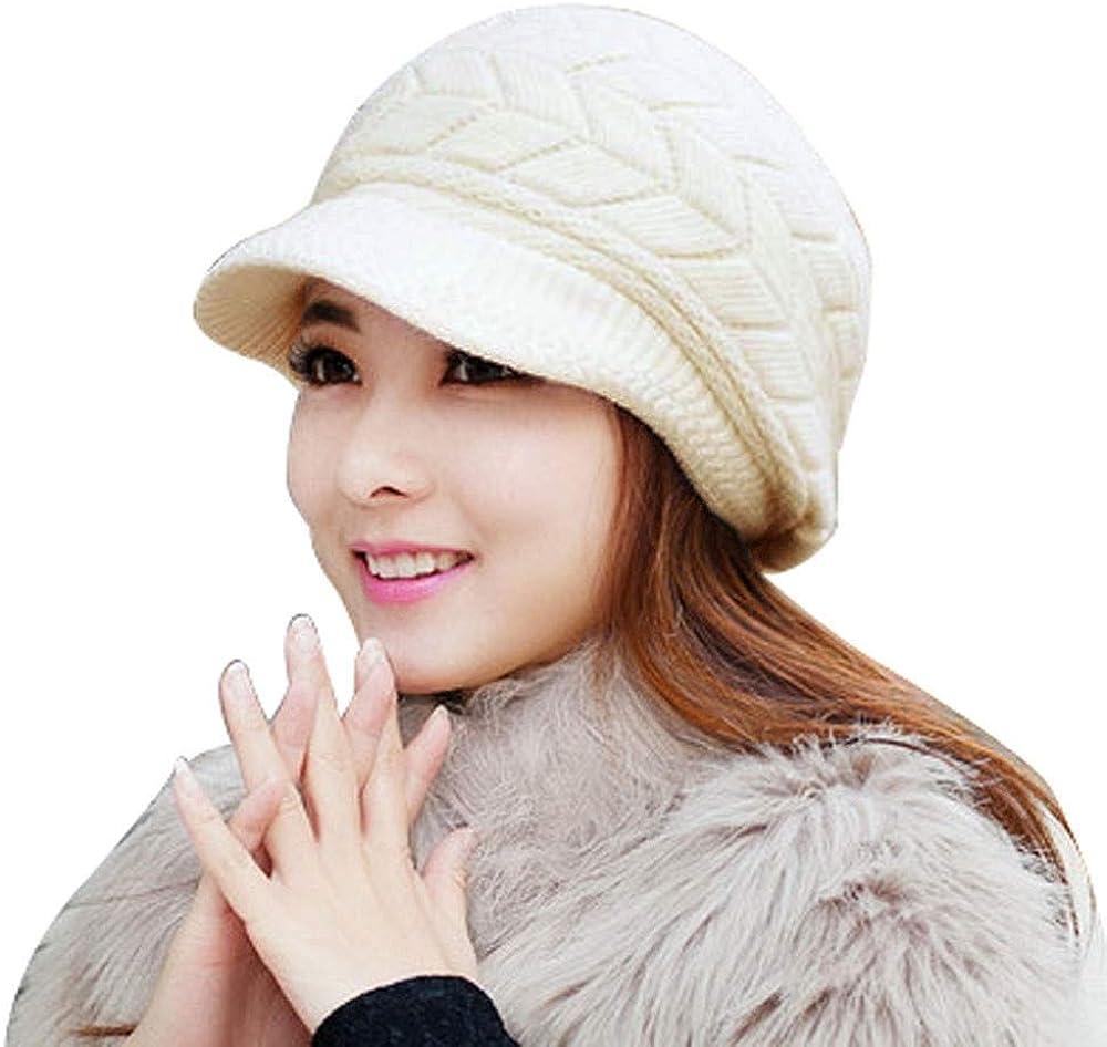 Fancet Damen Winter warme Wolle Schirmm/ütze Bakerboy M/ütze mit Schirm Schwarz