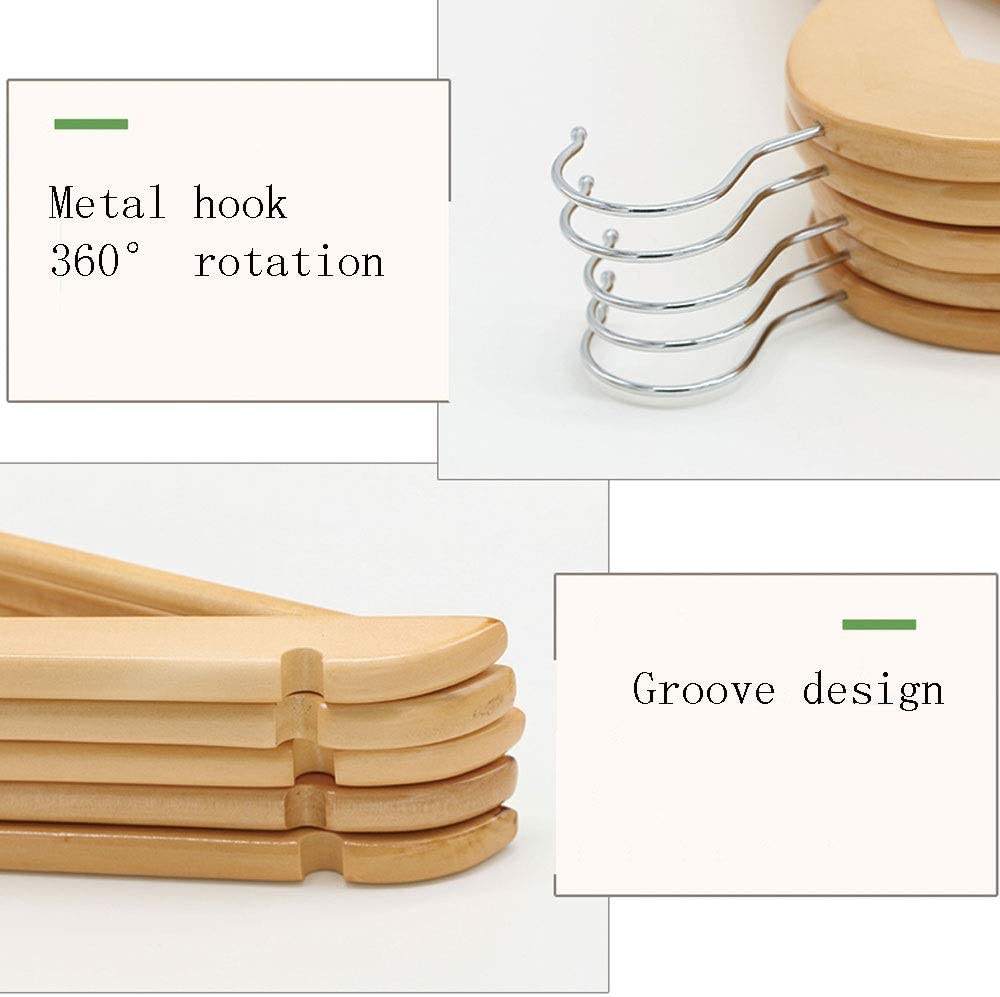 ZK Solid Wood Hangers Wooden Clothes Support Home Wooden Cool Clothes Hanging Wardrobe Non-Slip Clothing Store no Trace Wood Hangers 20 Pack Color : Vintage Color