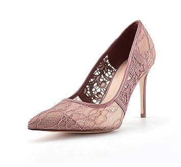 446298ce9133b5 Chaussures élégantes en dentelle à talons hauts Chaussures de banquise bouche  superficielle pointu Femmes sexy Chaussures