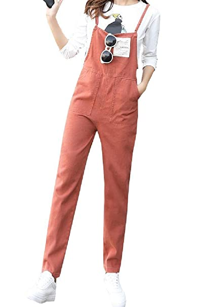 b1859490ad Comaba Womens Casual Spring Suspenders Denim Overall Long Pants Jegging  Pants at Amazon Women s Clothing store