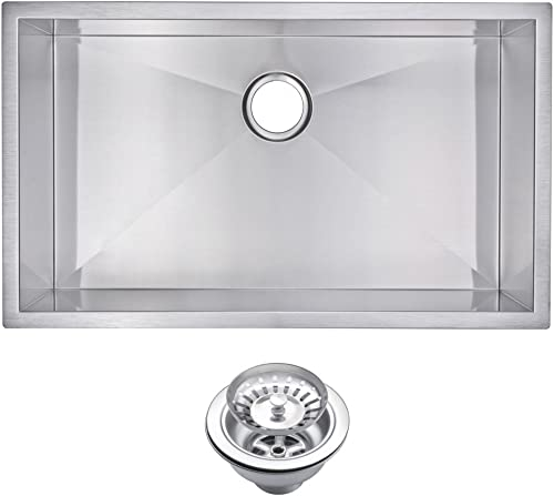 Water Creation SSS-US-3219A 32 X 19 Zero Radius Single Bowl Stainless Steel Hand Made Undermount Kitchen Sink with Drain and Strainer Premium Scratch Resistant Satin Stainless Steel