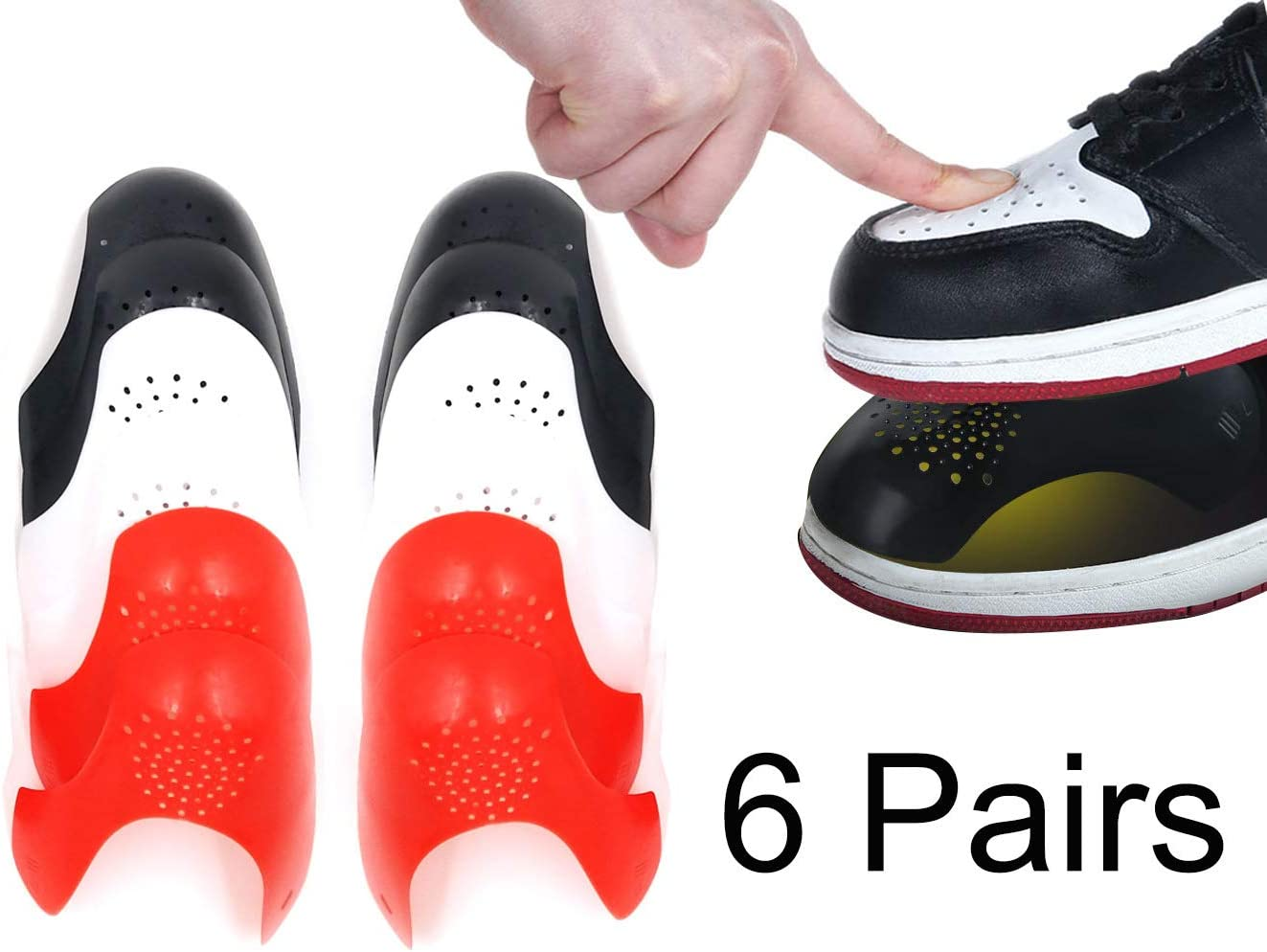 Anti-Wrinkle Shoes Creases Protector 6 Pairs,Prevent Sports Shoes Crease,Against Shoes Indentation,Men's 7-12/ Women's 5-8