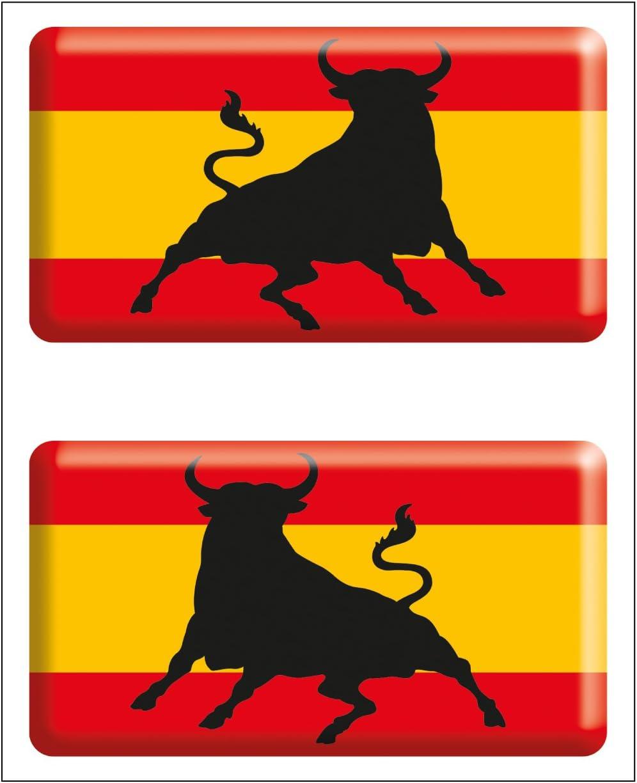 Artimagen Pegatina Bandera Rectángulo 2 uds. Toro España Resina 48x26 mm/ud.: Amazon.es: Coche y moto