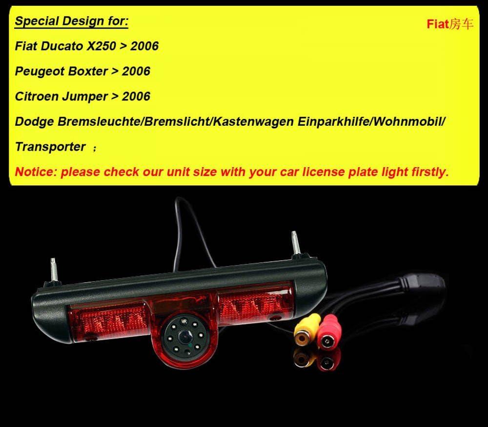 Navinio Wasserdicht Dach R/ückfahrkamera Farbkamera ersetzt dritte Bremsleuchte m Nachtsicht f/ür FIAT Ducato//Peugeot Boxter//Citroen Jumper//Dodge Bremsleuchte//Kastenwagen//Wohnmobil//Transporter