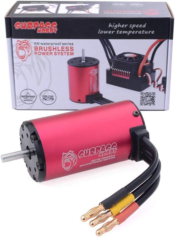 2000kv imperm/éable sans brosse de la s/érie 2-4S de Hobby 4076 Kk pour la voiture de 1//8 Rc rouge 2000KV ETbotu Surpassez le moteur 1700