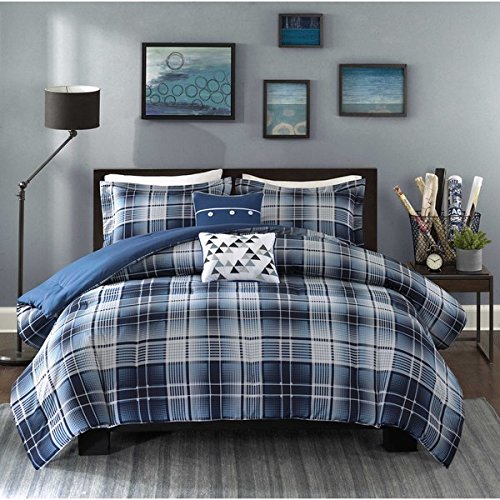 5 Piece Boys Classic Blue White Tartan Comforter Full Queen Set, Navy Lumberjack Pattern Madras Bedding Modern College Dorm Solid Color Cabin Lodge Southwest, Polyester